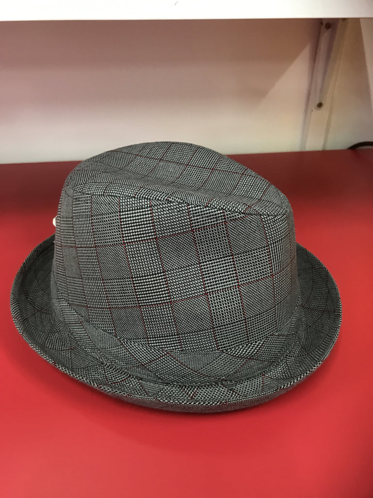 Fedora Grey with fine Red instripe check