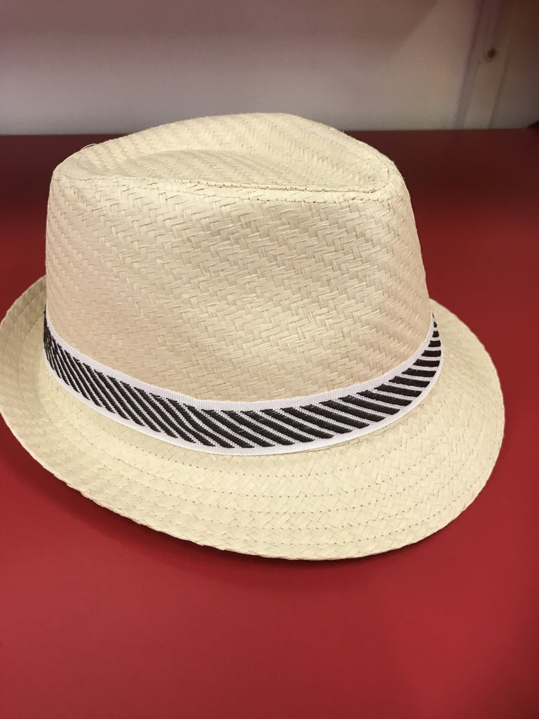 Boys/ Girls Fedora Beige - Brown/White Stripe Band