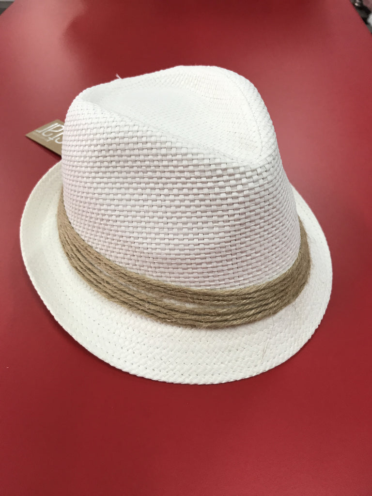 Unisex Fedora White - Rope band 59cm