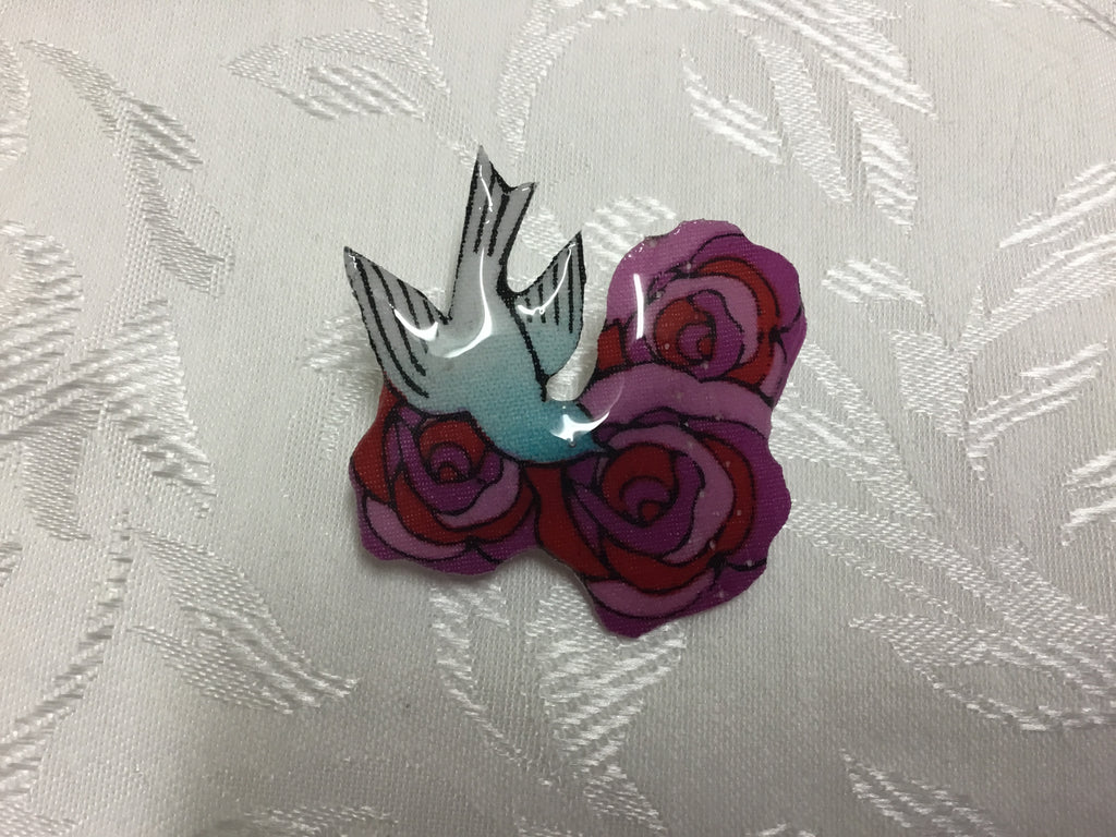 Triple small Rose/Swallow Glass Resin Brooch