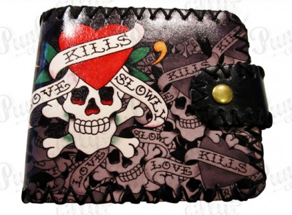 Skulls & Living Roses Rockabilly Wallet