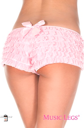 Soft Ruffled Shorts With Back Satin Bow ML135