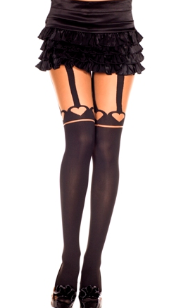 Spandex Opaque and Sheer Faux Thigh High Heart Panty Hose  ML7173