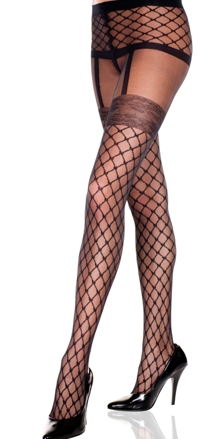 Sheer Faux Woven Fence Net Garterbelt Design Panty Hose  ML7229