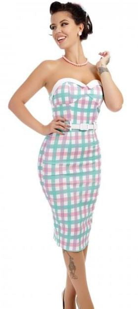 Monica Candy Gingham Pencil Dress