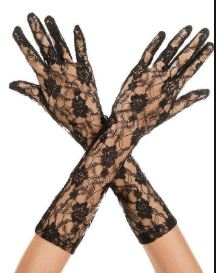 Music Legs Floral Lace Mid length Gloves -  White or Black