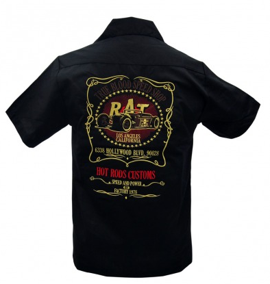 """RAT"" Embroidered Work Shirt - Wicked Rockabilly & Gifts"