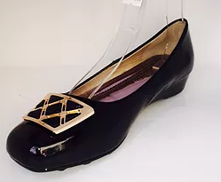Black Patent embellished slight wedge shoe -  Size 6 Left  $5