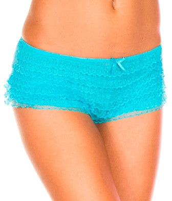 Mesh Ruffled Lace Tanga Shorts ML115