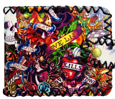 Old School Tattoo Printed Wallet - Wicked Rockabilly & Gifts - 1