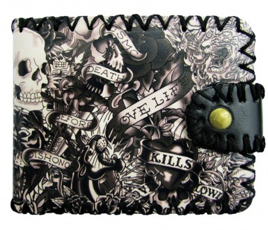 Black & White Tattoo Wallet - Wicked Rockabilly & Gifts - 1