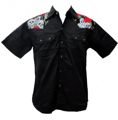 Rockabilly Skulls & Roses Mens Work Shirt - Wicked Rockabilly & Gifts - 1