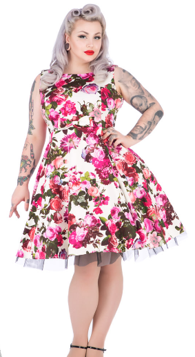 Audrey 50's Cream Floral Swing Dress - Wicked Rockabilly & Gifts - 3