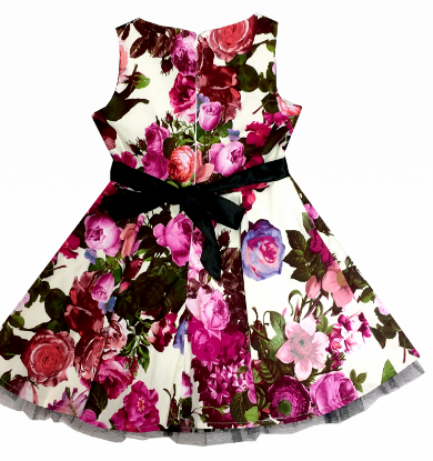 Girls Audrey 50's Cream Floral Swing  Dress - Wicked Rockabilly & Gifts - 3