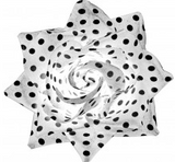 Hair Rose - Polka Dot White and Black - Wicked Rockabilly & Gifts