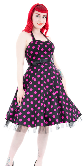 Black & Purple Polka Dot Swing Halter neck Dress -  -  Limited sizes available