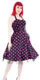 Black & Purple Polka Dot Swing Halter neck Dress - 30% OFF SALE -  Limited sizes available
