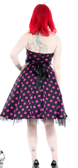 Black & Purple Polka Dot Swing Halter neck Dress