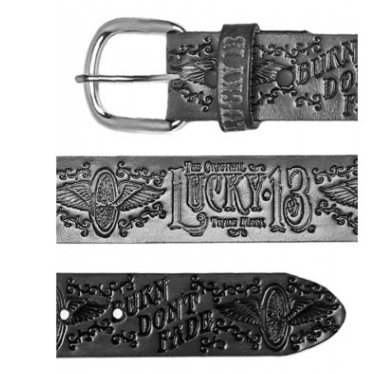 lucky 13 Burn Don't Fade embossed Leather Belt - Wicked Rockabilly & Gifts