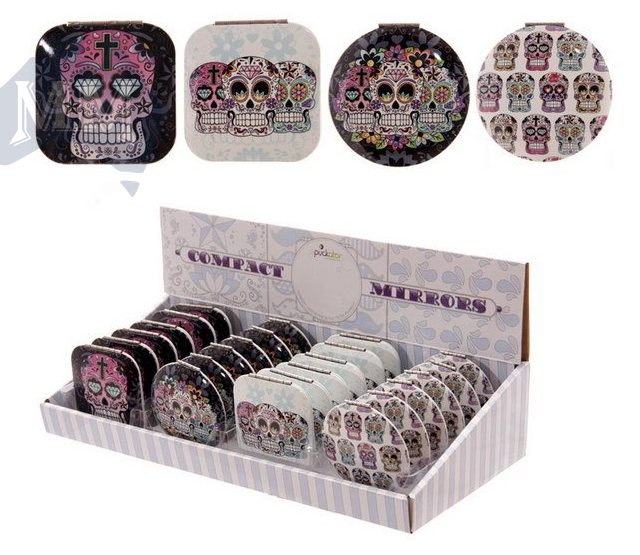 Day of the Dead Candy Skull Mirror Compact - Wicked Rockabilly & Gifts