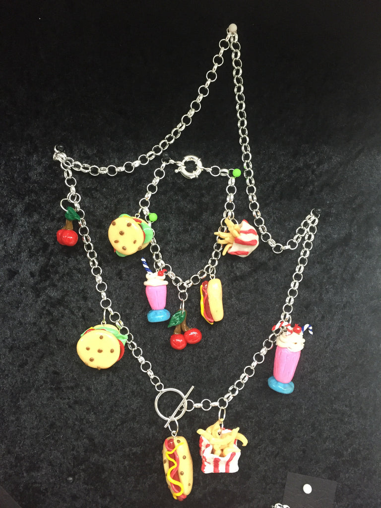 Fob charm Diner Necklace and Bracelet Set - Wicked Rockabilly & Gifts - 1