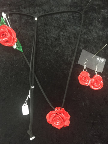 Lush Cherry Necklace/ Bracelet Set