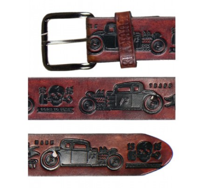 lucky 13 Burn Don't Fade embossed Leather Belt