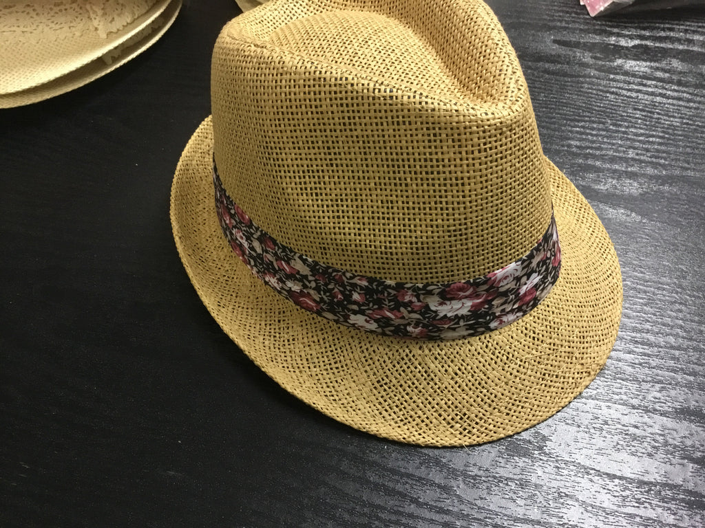 Womens Fedora Brown - Black Floral Band