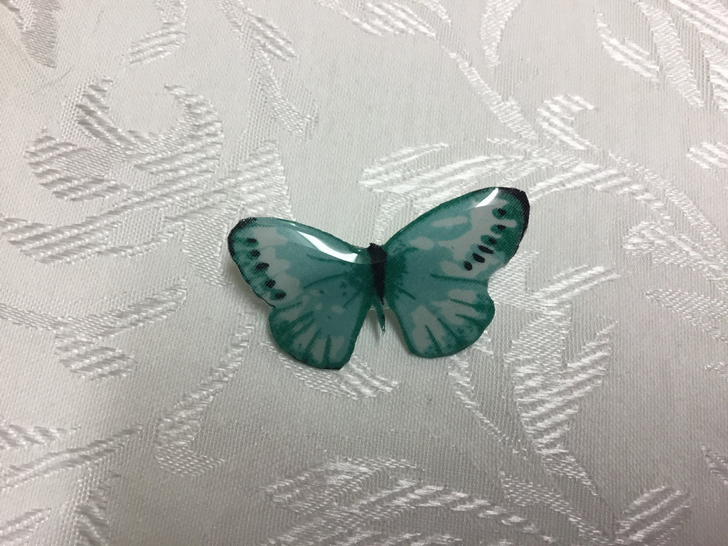 Mint Butterfly Glass Resin Brooch