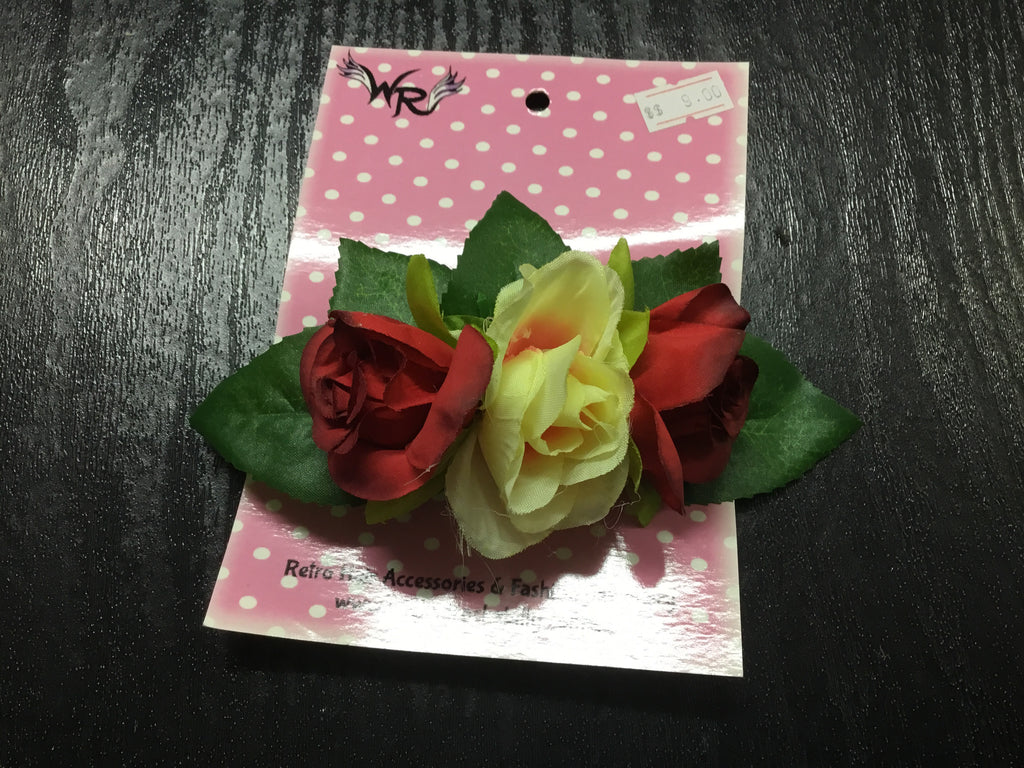 Mini Rose Cluster / Leaf  Hair Clip - Assorted Colours