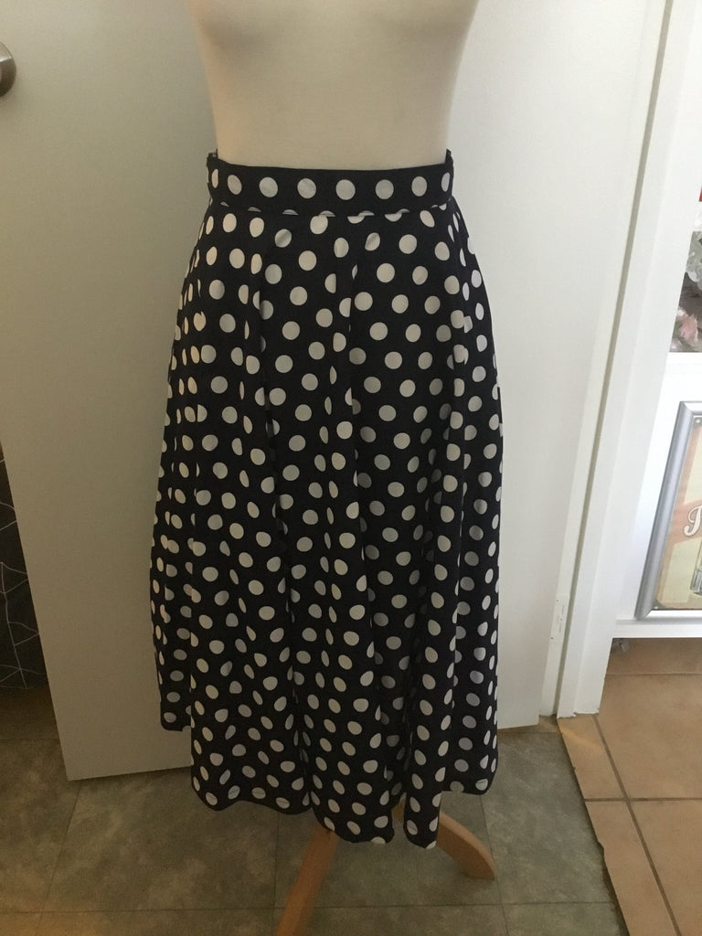 Navy Polka Dot  Swing Skirt