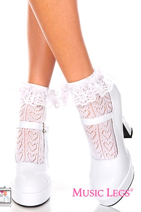Anklet Sock Heart Ruffle Trim ML515