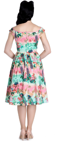 Peacock 50's Dress - Beautiful off the shoulder style