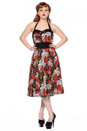 Skull Rose Swing Dress  -   ETA  MID OCTOBER - Wicked Rockabilly & Gifts