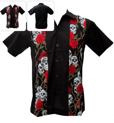 Skulls & Roses Mens Work Shirt - Wicked Rockabilly & Gifts