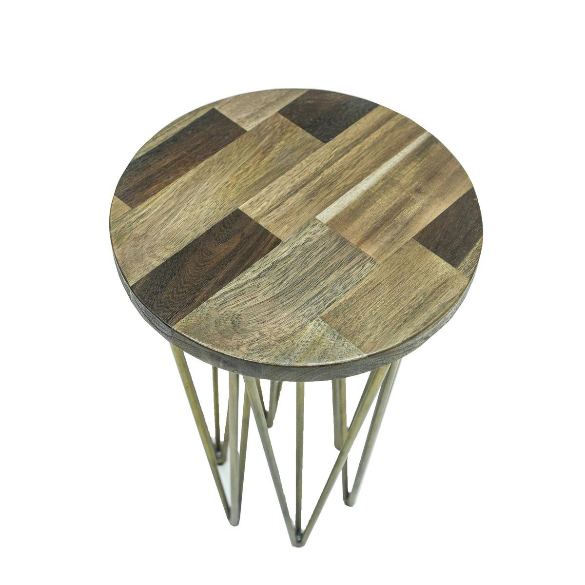 Mixed Solid Wood Round Side TABLE - Showhome Furniture