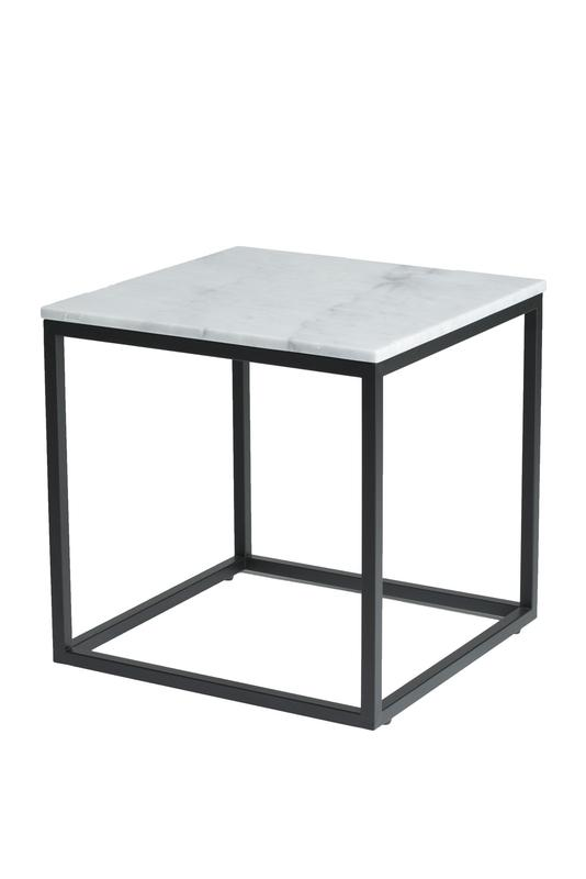 Verona End Table - White Marble, Black Matte Base | Calgary's Furniture Store