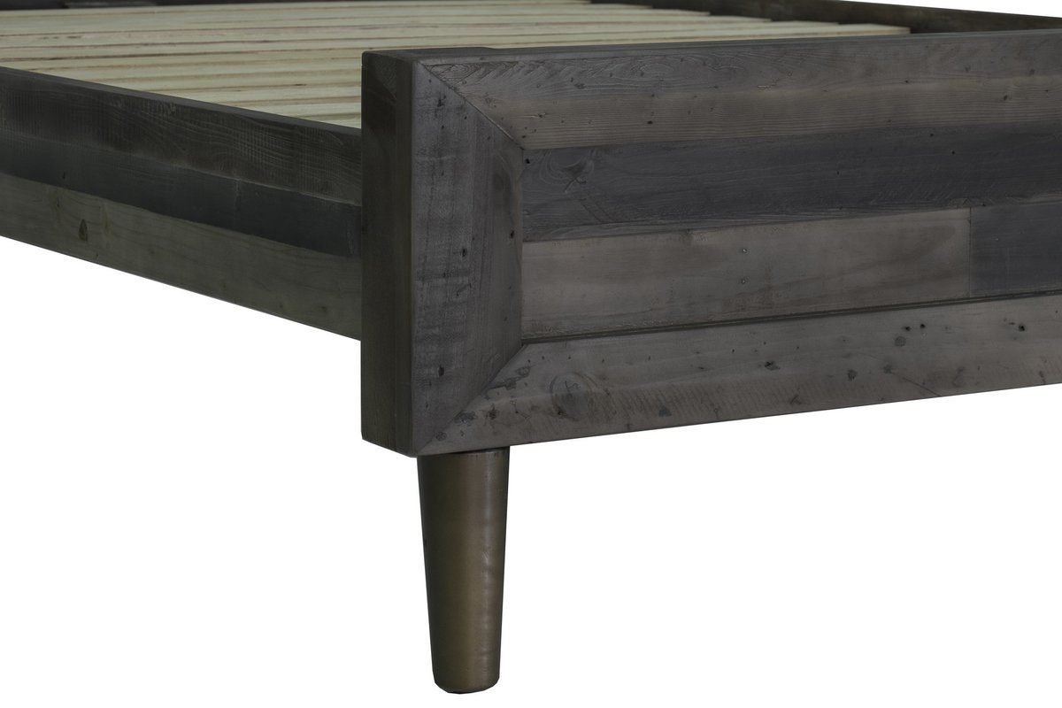 SOLID WOOD QUEEN BED - SMOKED GREY - Showhome Furniture