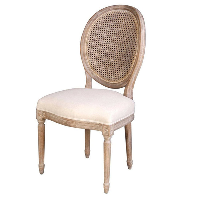 Napoleon Chair w/ Cane Back - Antique Linen - Showhome Furniture
