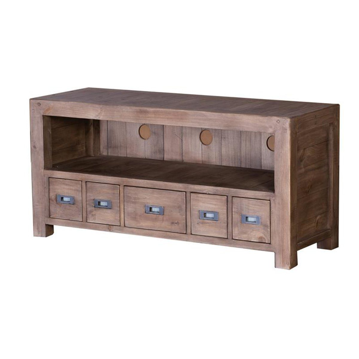 POST & RAIL SMALL TV CABINET - SUNDRIED - Showhome Furniture