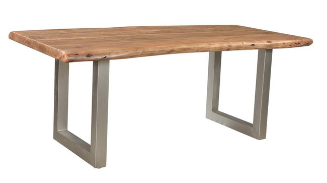 TAJ SMALL DINING TABLE - NATURAL TOP WITH BRUSHED NICKEL U TUBE Dining Tables LH