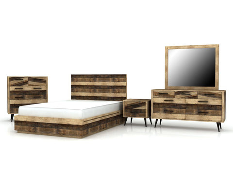 Solid Recycled Pine Wood King Slat Bed