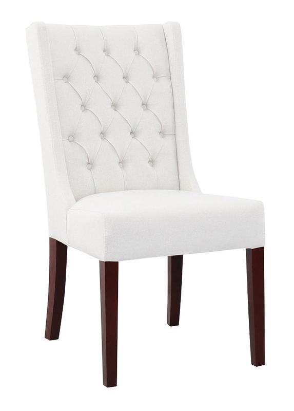 LAUREN TUFTED HIGH BACK CHAIR - WHITE RUSSIAN FABRIC - Showhome Furniture