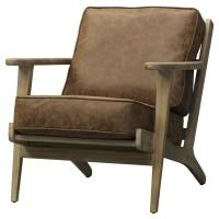 Albert PU Accent Chair Brushed Smoke Frame, Nubuck Chocolate Accent Chair NPD