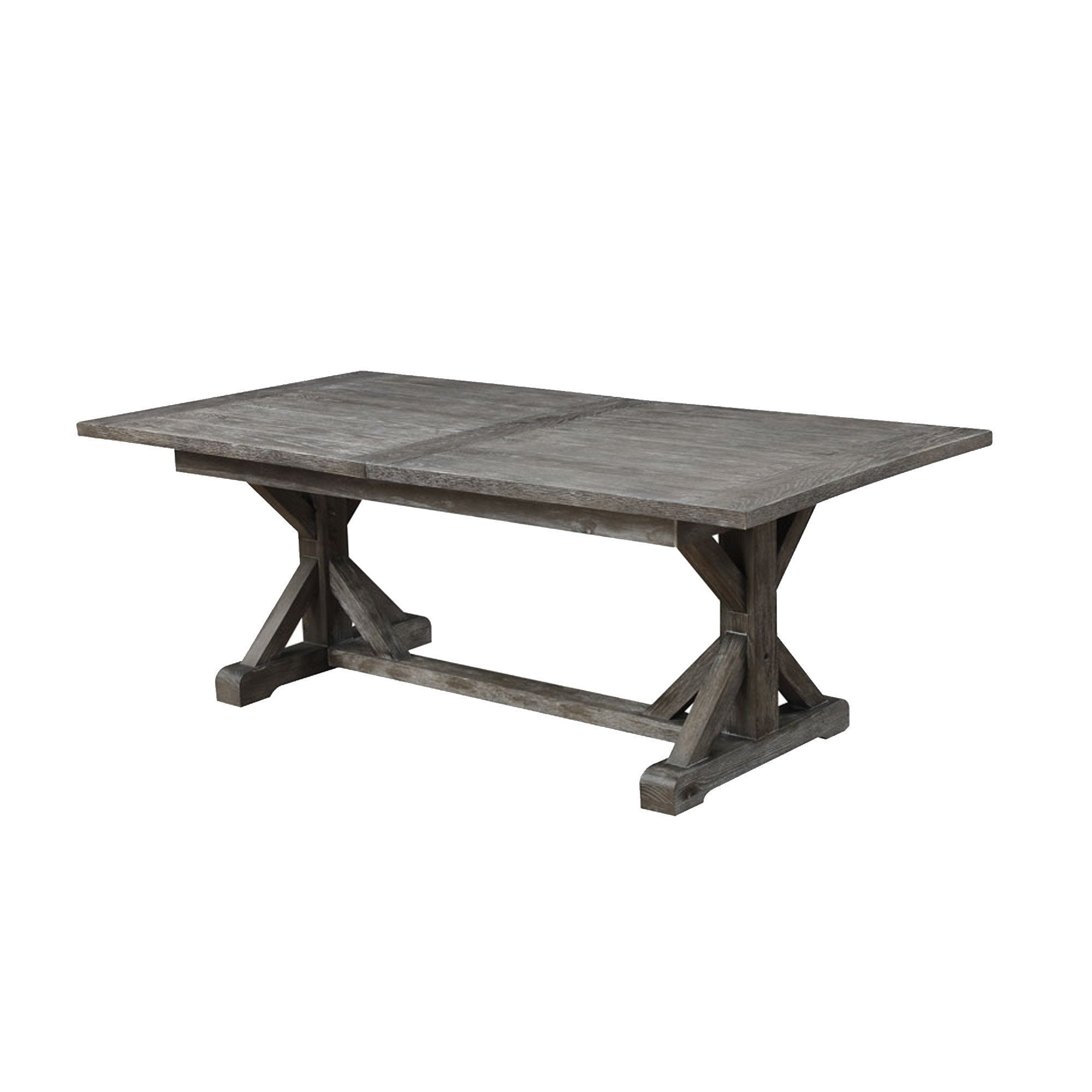 "D350-10-K DINING TABLE TOP W/28"" BUTTERFLY LEAF & BASE RUSTIC CHARCOAL 
