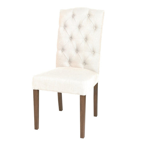 Non-Tufted High Back Chair - White Russian Fabric