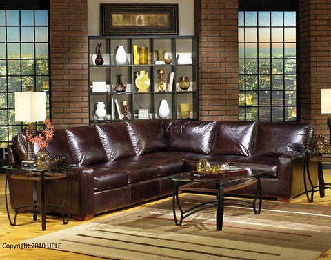 5450 Pebble Grey Leather Sectional - USA Premium
