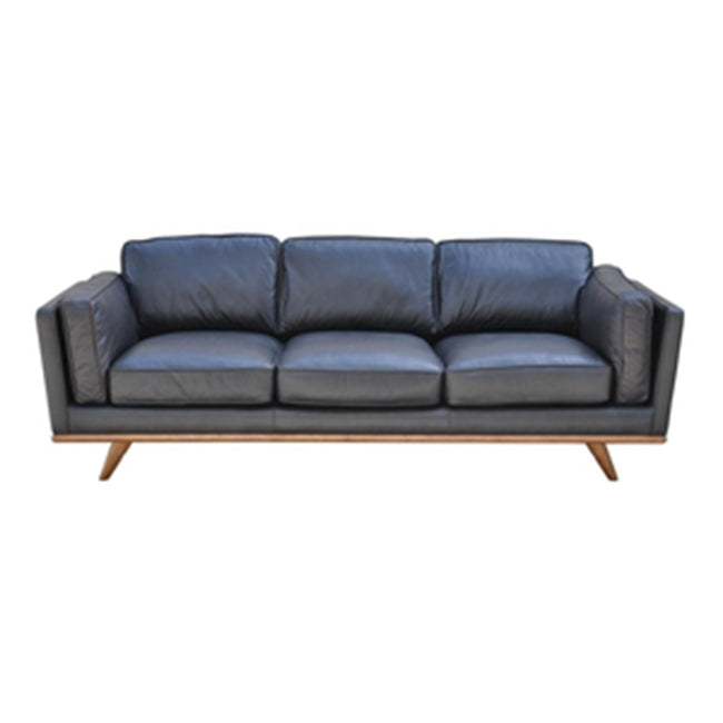 Mid-Century Black Leather Sofa - Showhome Furniture