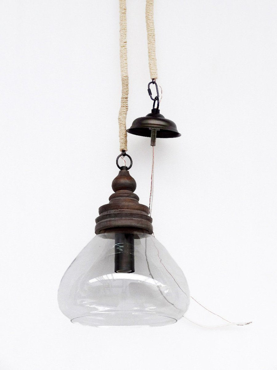 Alpha Glass Pendant with Wood Top