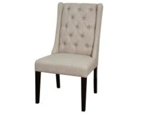 Ashton Fabric Tufted Chair Wenge Legs, Almond | Calgary's Furniture Store